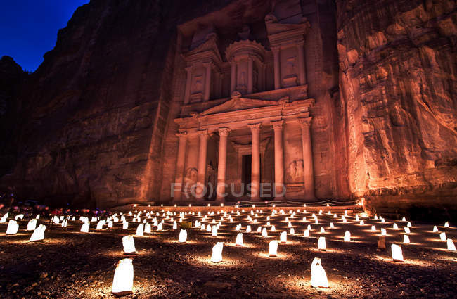 The Treasury at night, Petra, UNESCO World Heritage Site, Jordan, Middle East — Stock Photo