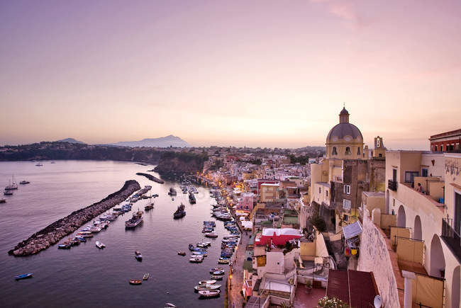 Cityscape, Corricella village, Procida island, Campania, Italy, Europe . — стоковое фото