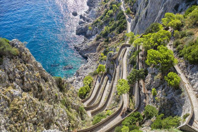 Шлях Кроппа, острів Капрі, Кампанія, Італія, Європа — стокове фото
