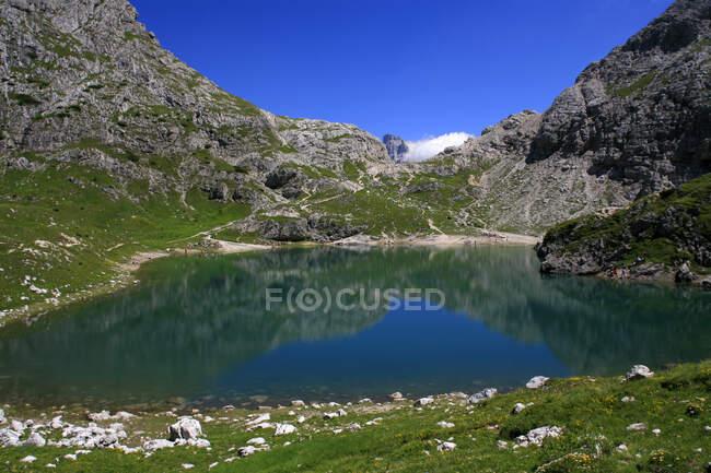 Aerila view of Monte Civetta, laghetto alpino — Stock Photo