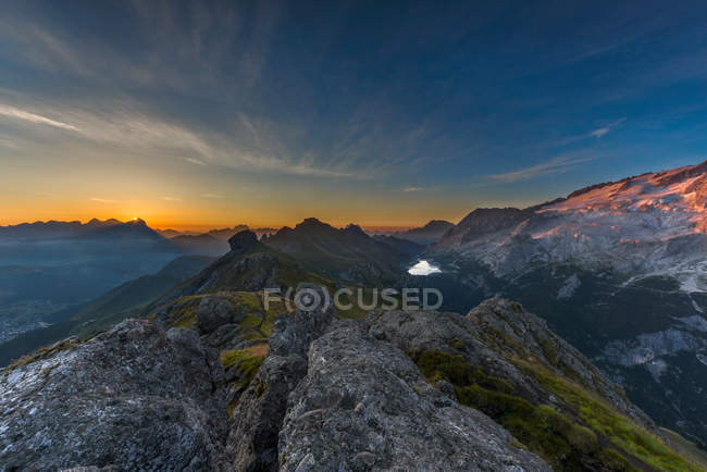 Sunrise towards Marmolada and Fedaia pass, Fassa Valley, Dolomites, Trentino-Alto Adige, Italy — Stock Photo