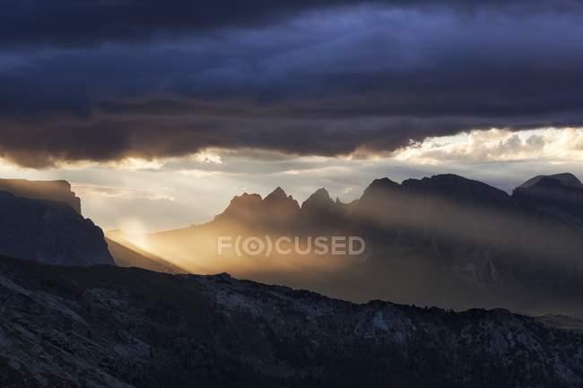 Groupe de sapins de Sass de Stria, Dolomites, Veneto, Italie — Photo de stock