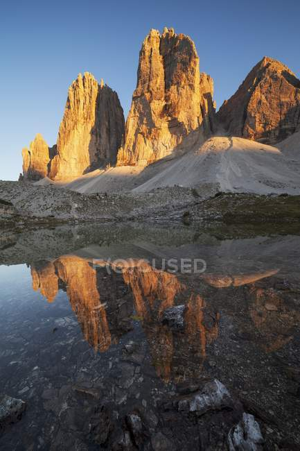 Tre Cime di Lavaredo, Drei Zinnen, Dolomites, Trentino-Alto Adige, Itália — Fotografia de Stock