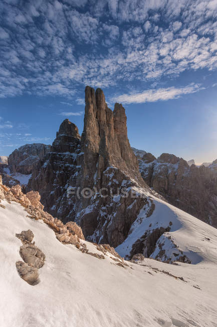 As torres de Vaiolet no inverno, grupo de Catinaccio Rosengarten, Dolomites, Trentino-Alto Adige, Italy — Fotografia de Stock