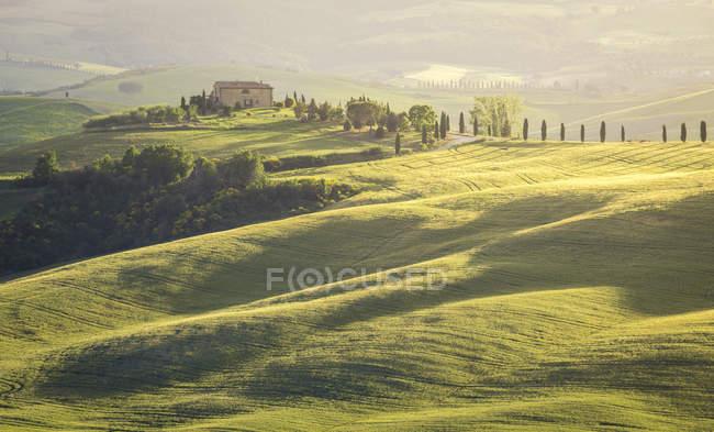 Uma quinta em Val d 'Orcia, Toscana, Itália, Europa — Fotografia de Stock