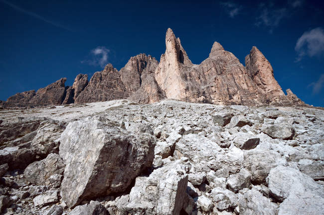 Drei Gipfel des Lavaredo, tre cime di lavaredo, Dolomiten, UNESCO, Weltkulturerbe, Venetien, Italien, Europa — Stockfoto
