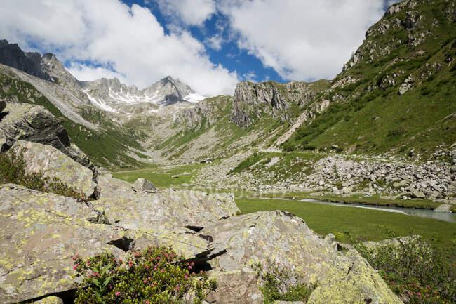 Overview of Pian d' Amola , Adamello Brenta Nature Park , Val Rendena , Nambrone val , Trentino — Stock Photo