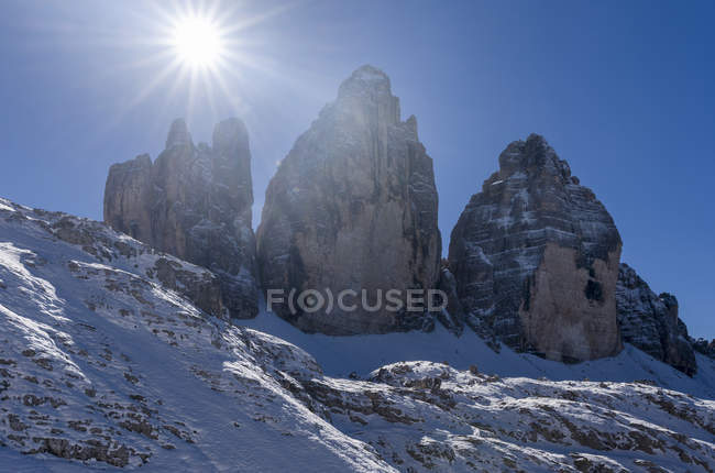 The iconic Drei Zinnen - Tre Cime di Lavaredo in South Tyrol  Alto Adige in the Dolomites, a unesco world heritage site. europe, central europe, italy,  october — Stock Photo