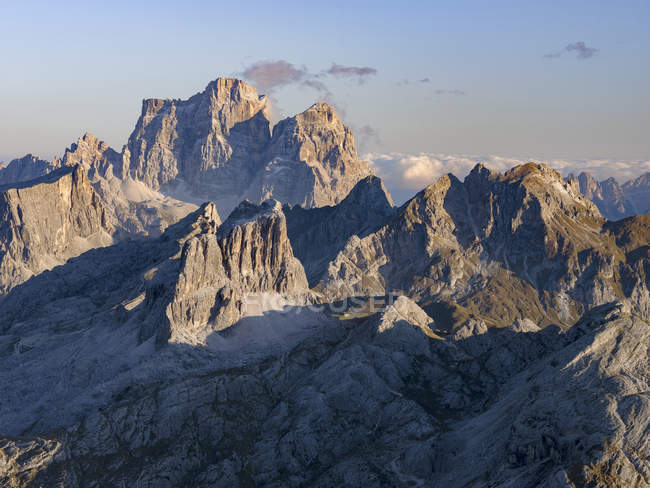 The dolomites in the Veneto. Monte Pelmo, Averau, Nuvolau and Ra Gusela in the background. The Dolomites are listed as UNESCO World heritage. europe, central europe, italy — Stock Photo