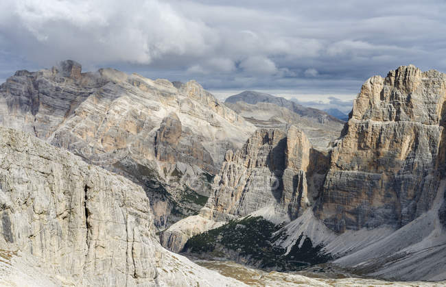 Mount Conturines and the  Fanes mountains high above Alta Badia in the Dolomites.  The Dolomites are listed as UNESCO World heritage. europe, central europe, italy,  october — Stock Photo