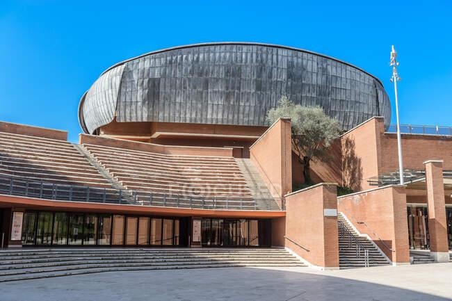 Auditorium Parco della Musica - багатофункціональний громадський музичний комплекс, розроблений італійським архітектором Ренцо Піано, Рим, Лаціо, Італія, Європа. — стокове фото