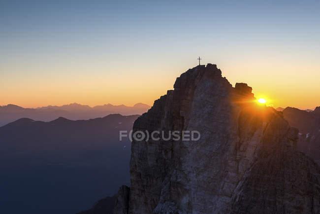 Nascer do sol sobre o cima una/Einser, Dolomiti di Sesto, Trentino-Alto Adige, Italy — Fotografia de Stock