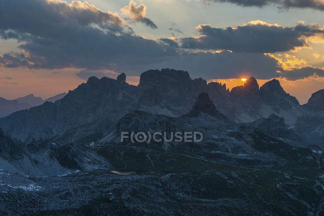Por do sol nas Dolomitas, Dolomiti di Sesto, Trentino-Alto Adige, Italy — Fotografia de Stock