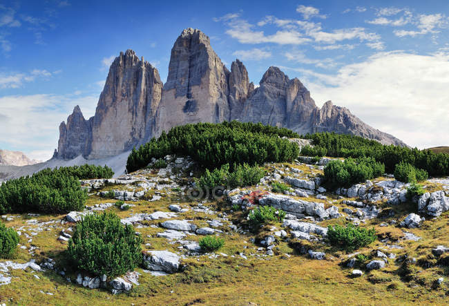 Tre Cime di Lavaredo, the north face, Dolomites, Alps, Veneto, Trentino-Alto Adige, italy — Stock Photo