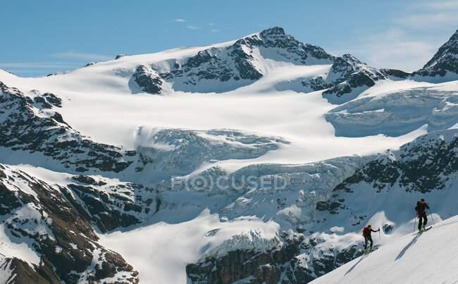 Skifahrer besteigen den Pizzo Tresero, Forni-Gletscher, Lombardei, Italien — Stockfoto