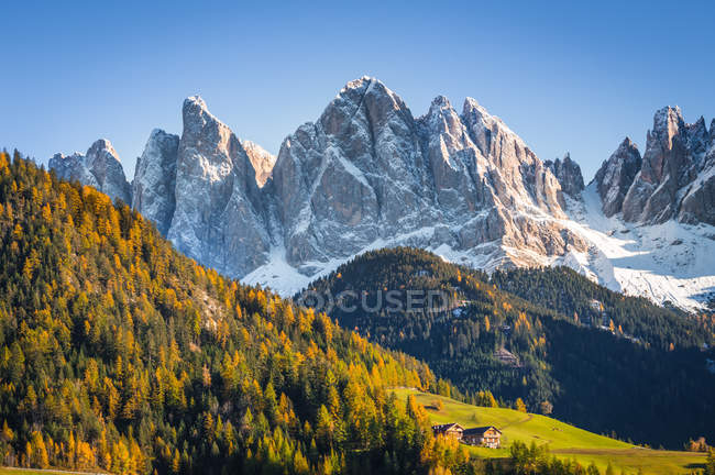 Autumnal Colors, Santa Maddalena, Funes Valley, Trentino-Alto Adige, Italy — Stock Photo