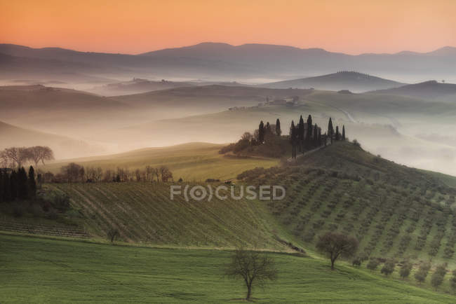 Podere Belvedere paesaggio, San Quirico d'Orcia, Val d'Orcia, Toscana, Italia, Europa — Foto stock
