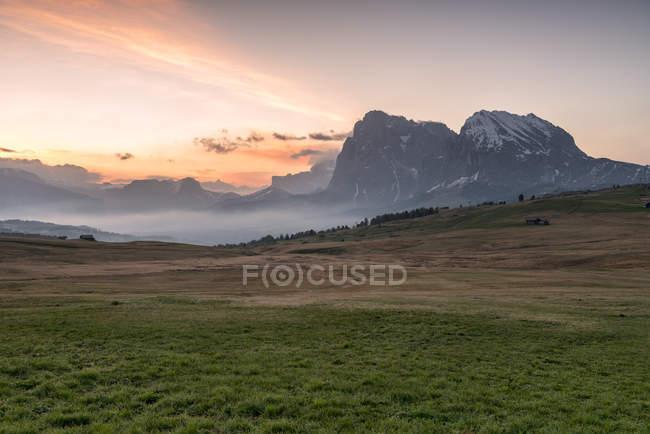 Alpe di Siusi/Seiser Alm, Dolomites, Alto Adige, Italy, Europa. Vista do Alpe di Siusi aos picos de Sassolungo/Langkofel e Sassopiatto/Plattkofel — Fotografia de Stock