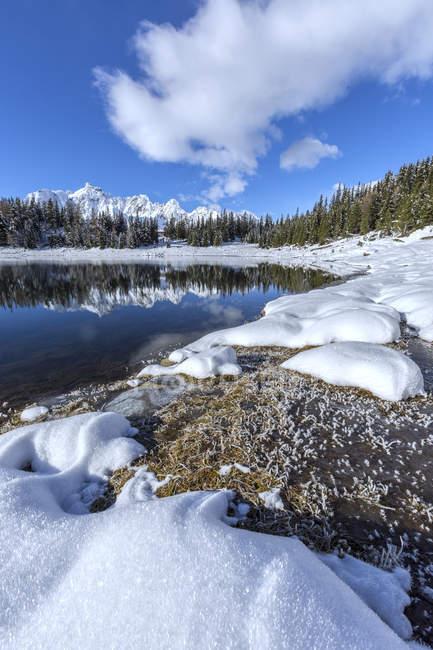 Bois et sommets enneigés se reflètent dans l'eau claire de Pal Lake, vallée du Malenco, Valtellina, Lombardie, Italie, Europe — Photo de stock
