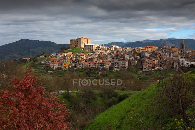 Cityscape Castelbuono village, Sicily, Italy, Europe — Stock Photo