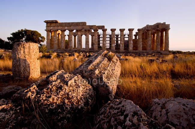 Храм Гера, Селінунте, археологічні розкопки, селище Кастельветрано, Сицилія, Італія, Європа — стокове фото