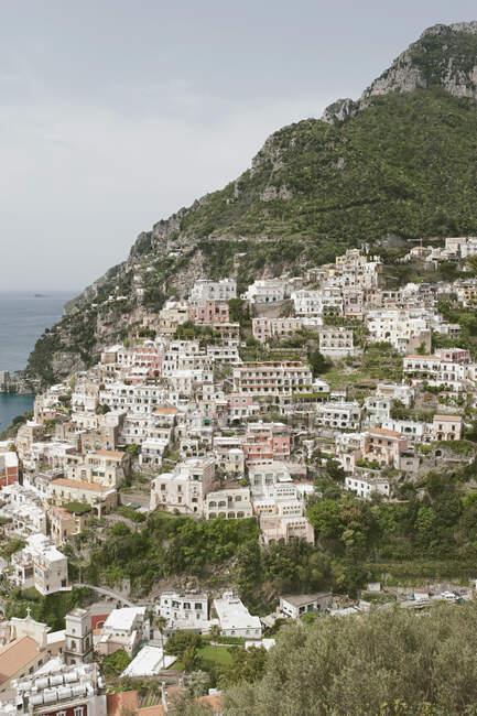 Poasitano cityscape from the top of the hill, Amalfi Coast, Campania, Italy, Europe — Stock Photo