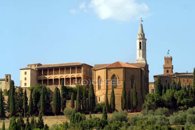 Foreshortening, Cathedral and Palazzo Piccolomini palace, Pienza, UNESCO, World Heritage Site, Tuscany, Italy, Europe — Stock Photo