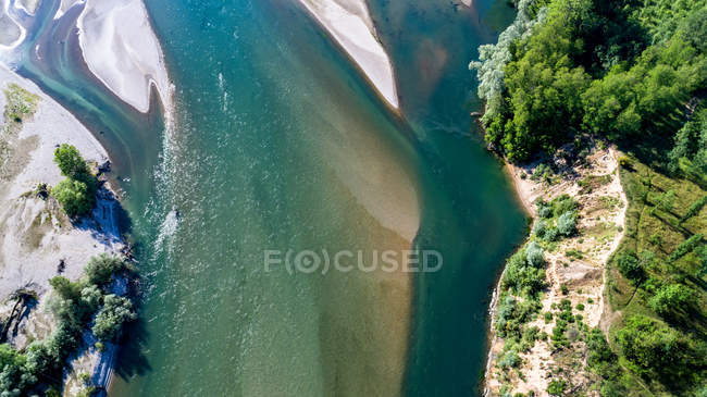Vista aérea del Parque Natural del Tesino, Bereguardo, Lombardía, Italia, Europa - foto de stock