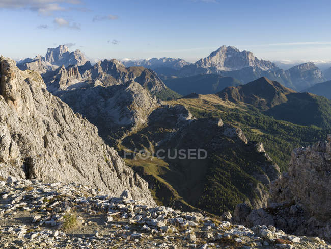 The dolomites in the Veneto. Monte Pelmo and the Civetta in the background. The Dolomites are listed as UNESCO World heritage. europe, central europe, italy — Stock Photo