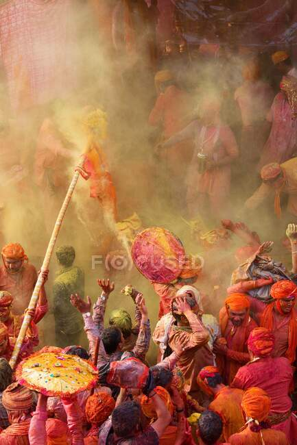 Celebration of holi festival, Nandgaon, Maharashtra, India, Asia — Stock Photo