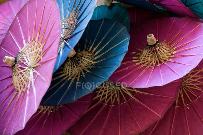 Paper Umbrellas factory, Pindaya, Taunggyi District, Shan State, Myanmar, Burma, Southeast Asia — Stock Photo