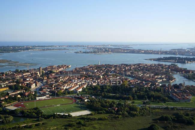 Veduta dell'isola di Murano dall'elicottero, Laguna di Venezia, Italia, Europa — Foto stock
