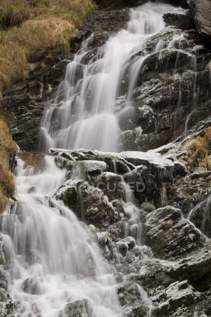 Lenteney waterfall in winter, Derby, La Salle, Aosta Valley, Italy, Europe — Stock Photo