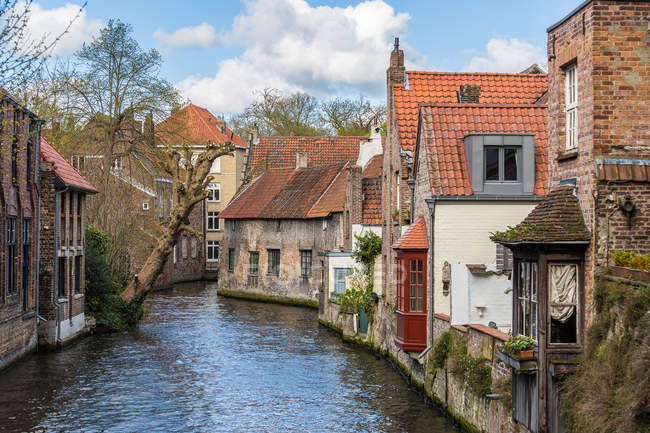 Houses and canals, Bruges, Belgium, Europe — Stock Photo