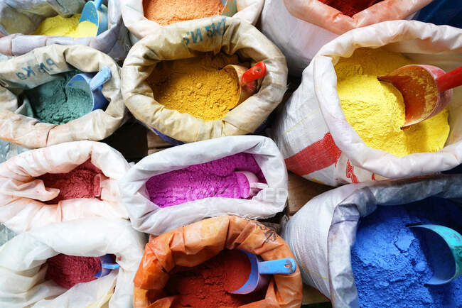 Traditional natural pigments, Kasbah, Chefchaouen, the blue pearl, village northeast of Morocco, North Africa, Africa — Stock Photo