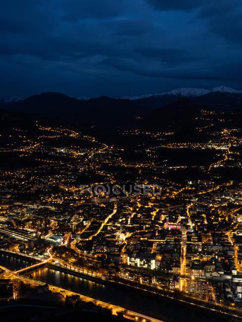 Nightview of Trento town and Duomo square from Sardagna viewpoin of Sardagna, Trentino, Italy, Europe — Stock Photo