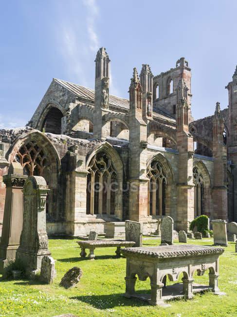 Abbaye de Melrose aux frontières écossaises. Europe, Europe centrale, Grande-Bretagne, Écosse, juin — Photo de stock