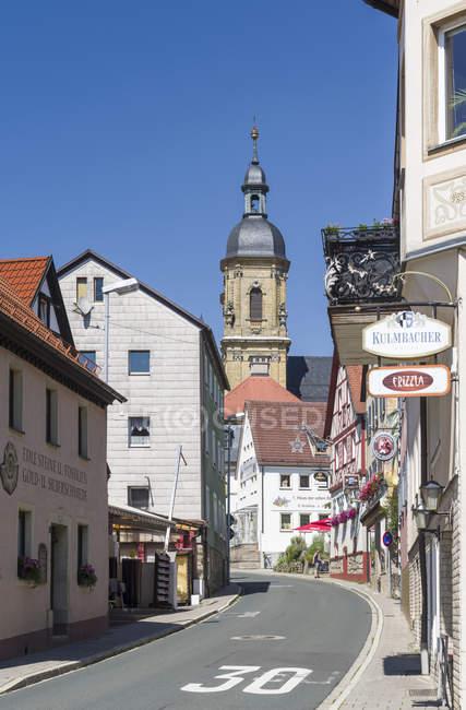 Basilica Goessweinstein, buildt by Balthasar Neumann. Goessweinstein the most important place of pilgrimage in  Franconian Switzerland ( Fraenkischen Schweiz).  Europe, Germany, Bavaria, July — Stock Photo