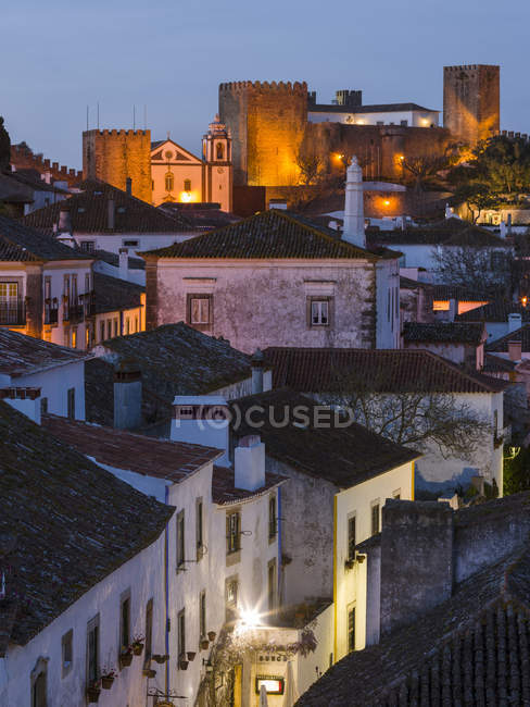 View over town. Historic small town Obidos with a medieval old town, a tourist attraction north of Lisboa  Europe, Southern Europe, Portugal — Stock Photo