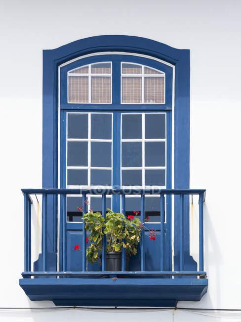 Le tipiche facciate delle case nel centro storico. Capitale Angra do Heroismo, il centro storico fa parte del patrimonio mondiale dell'Unesco. dell'isola Ilhas Terceira, parte delle Azzorre (Ilhas dos Acores) nell'oceano atlantico, una regione autonoma di P — Foto stock