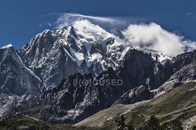 Ледник, гора Монте-Бьянко, Альпы, Валье д'Аоста, Италия, Европа — стоковое фото