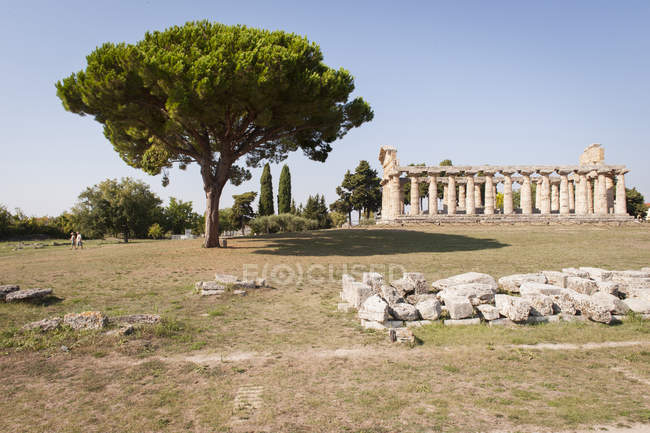 Temple of Athena, Paestum archeological area, UNESCO, World Heritage Site, province of Salerno, Campania, Italy, Europe — Stock Photo