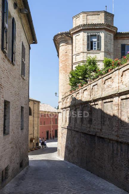 Via Leopardi street, Recanati, Marche, Italy, Europe — стокове фото