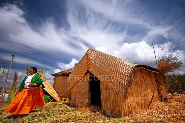 Floating Island, Uros people, Puno, Peru, Soth America — Stock Photo
