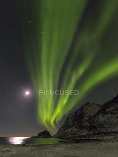 Luces boreales sobre Haukland Beach, isla Vestvagoy. Las islas Lofoten en el norte de Noruega durante el invierno. Europa, Escandinavia, Noruega, febrero - foto de stock