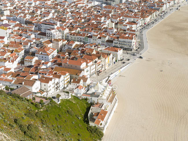 View over town and beach from Sitio. The town Nazare on the coast of the Atlantic ocean. Europe, Southern Europe, Portugal — Stock Photo