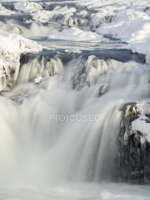 Waterfall Urridafoss during winter, river Thorsa in southern Iceland near Sellfoss. Europe, Northern Europe, Scandinavia, Iceland, February — Stock Photo
