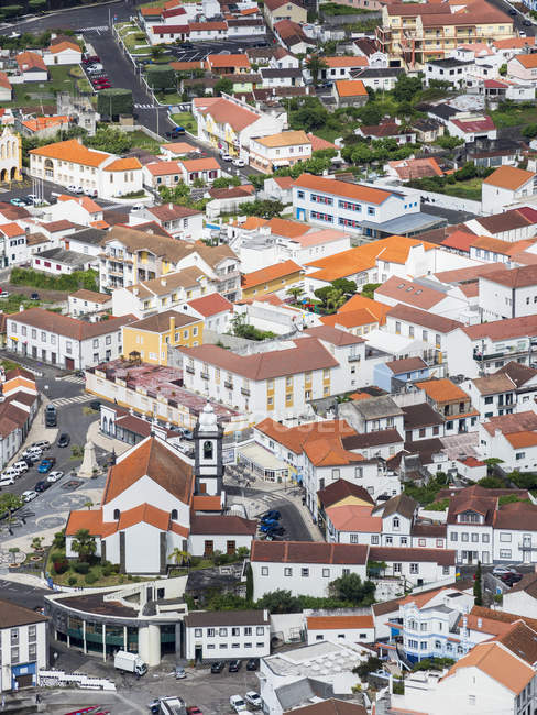 Velas, the main town on the island. Sao Jorge Island, an island in the Azores (Ilhas dos Acores) in the Atlantic ocean. The Azores are an autonomous region of Portugal. Europe, Portugal, Azores — Stock Photo