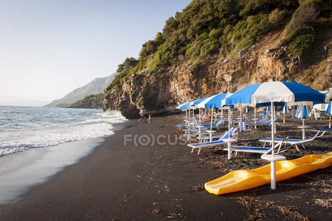 The Black Beach at sunset, Maratea, Basilicata, Italy, Europe — Stockfoto