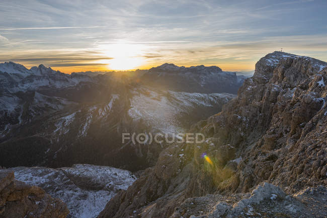 Gipfel des Lagazuoi bei Sonnenuntergang, Dolomiten, Venetien, Italien — Stockfoto